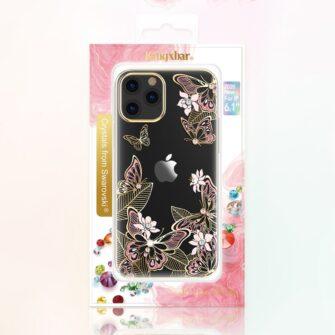 iPhone 12 iPhone 12 Pro umbris Kingxbar Butterfly elastsest plastikust Swarowski kristallikestega kuldne 4