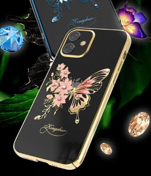 iPhone 12 iPhone 12 Pro umbris Kingxbar Butterfly elastsest plastikust Swarowski kristallikestega kuldne 5