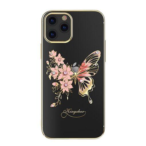 iPhone 12 iPhone 12 Pro umbris Kingxbar Butterfly elastsest plastikust Swarowski kristallikestega kuldne