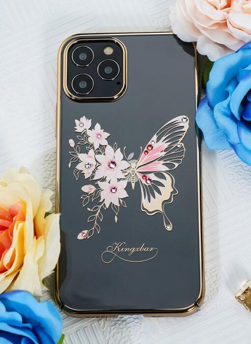 iPhone 12 iPhone 12 Pro umbris Kingxbar Butterfly elastsest plastikust Swarowski kristallikestega kuldne 8