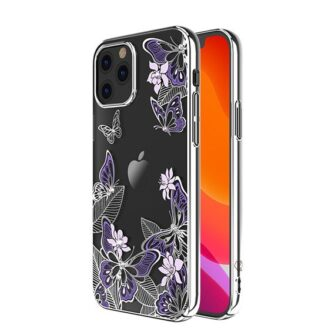 iPhone 12 iPhone 12 Pro umbris Kingxbar Butterfly elastsest plastikust Swarowski kristallikestega lilla 1