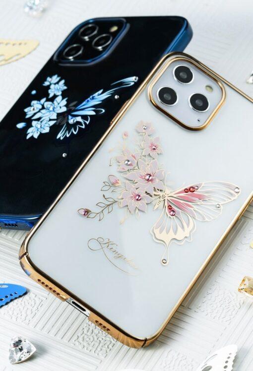 iPhone 12 iPhone 12 Pro umbris Kingxbar Butterfly elastsest plastikust Swarowski kristallikestega lilla 10