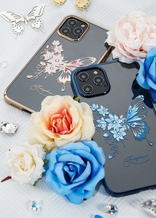iPhone 12 iPhone 12 Pro umbris Kingxbar Butterfly elastsest plastikust Swarowski kristallikestega lilla 11