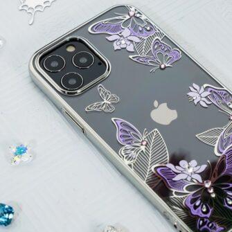 iPhone 12 iPhone 12 Pro umbris Kingxbar Butterfly elastsest plastikust Swarowski kristallikestega lilla 12