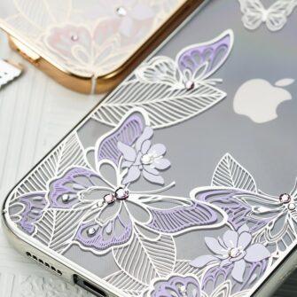 iPhone 12 iPhone 12 Pro umbris Kingxbar Butterfly elastsest plastikust Swarowski kristallikestega lilla 13