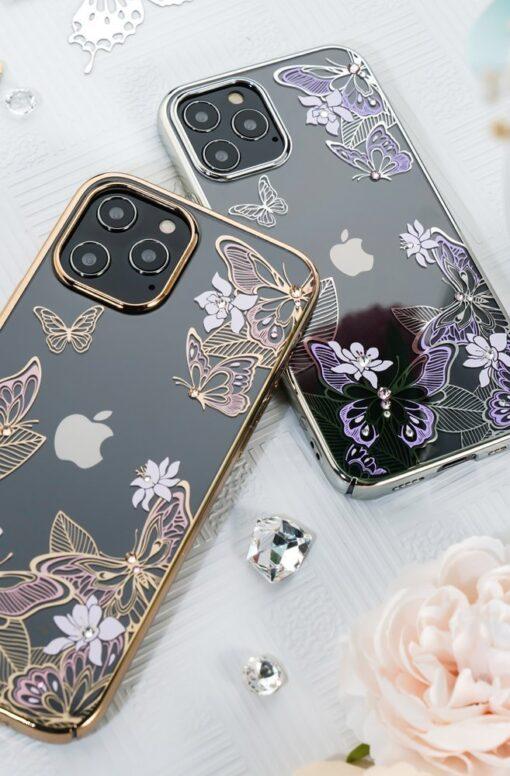 iPhone 12 iPhone 12 Pro umbris Kingxbar Butterfly elastsest plastikust Swarowski kristallikestega lilla 14