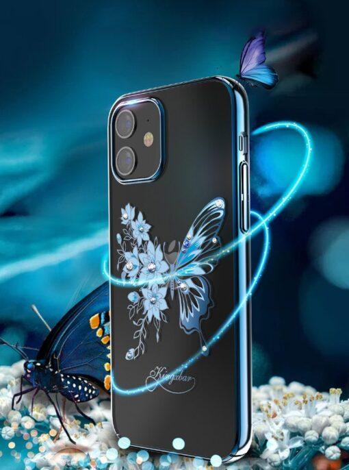 iPhone 12 iPhone 12 Pro umbris Kingxbar Butterfly elastsest plastikust Swarowski kristallikestega lilla 2