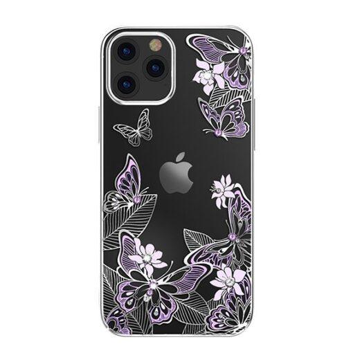 iPhone 12 iPhone 12 Pro umbris Kingxbar Butterfly elastsest plastikust Swarowski kristallikestega lilla