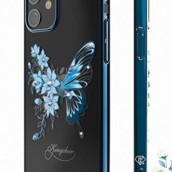 iPhone 12 iPhone 12 Pro umbris Kingxbar Butterfly elastsest plastikust Swarowski kristallikestega lilla 6
