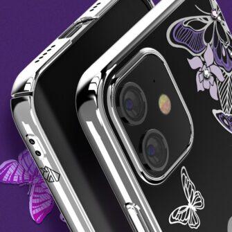 iPhone 12 iPhone 12 Pro umbris Kingxbar Butterfly elastsest plastikust Swarowski kristallikestega lilla 7