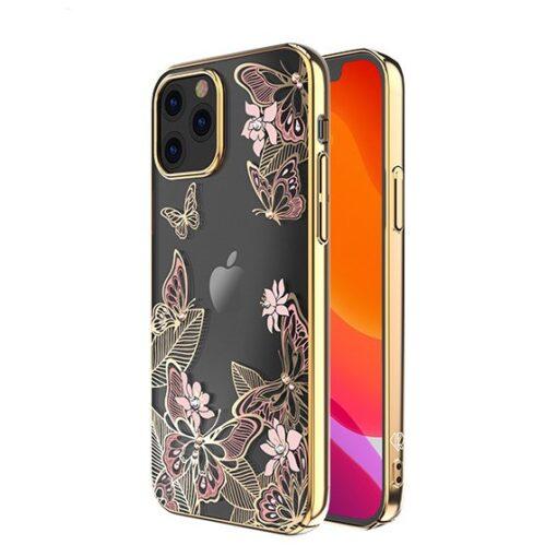 iPhone 12 iPhone 12 Pro umbris Kingxbar Butterfly elastsest plastikust Swarowski kristallikestega roosa 1