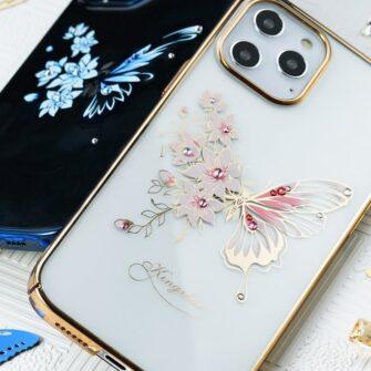 iPhone 12 iPhone 12 Pro umbris Kingxbar Butterfly elastsest plastikust Swarowski kristallikestega roosa 10