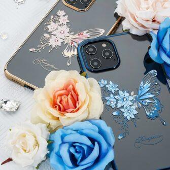iPhone 12 iPhone 12 Pro umbris Kingxbar Butterfly elastsest plastikust Swarowski kristallikestega roosa 11
