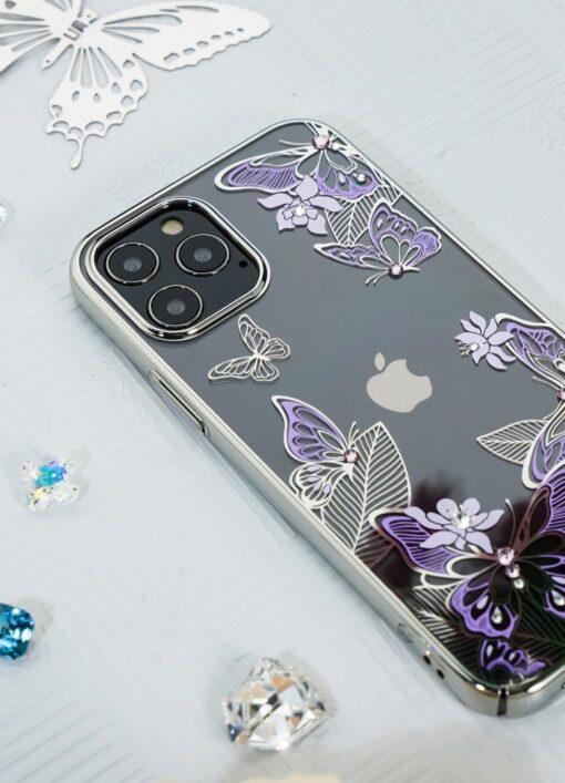 iPhone 12 iPhone 12 Pro umbris Kingxbar Butterfly elastsest plastikust Swarowski kristallikestega roosa 12