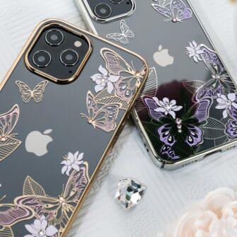 iPhone 12 iPhone 12 Pro umbris Kingxbar Butterfly elastsest plastikust Swarowski kristallikestega roosa 14