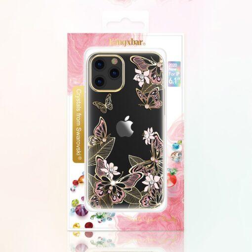 iPhone 12 iPhone 12 Pro umbris Kingxbar Butterfly elastsest plastikust Swarowski kristallikestega roosa 4