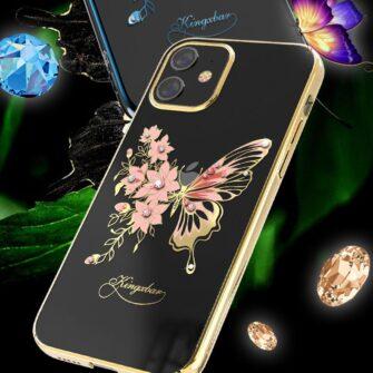 iPhone 12 iPhone 12 Pro umbris Kingxbar Butterfly elastsest plastikust Swarowski kristallikestega roosa 5