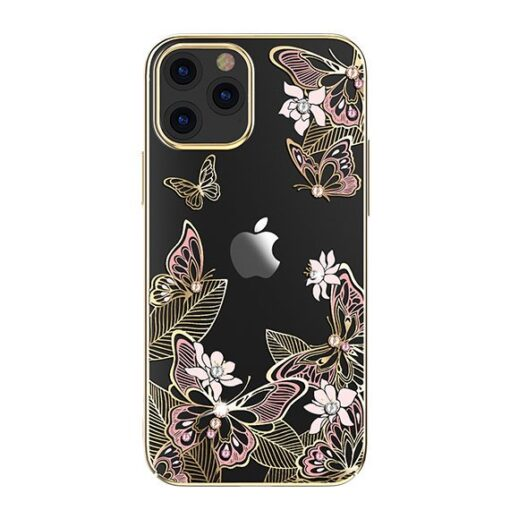 iPhone 12 iPhone 12 Pro umbris Kingxbar Butterfly elastsest plastikust Swarowski kristallikestega roosa