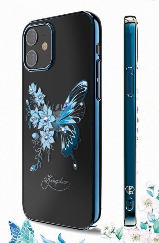 iPhone 12 iPhone 12 Pro umbris Kingxbar Butterfly elastsest plastikust Swarowski kristallikestega roosa 6
