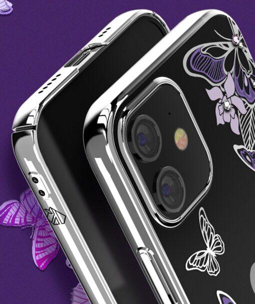 iPhone 12 iPhone 12 Pro umbris Kingxbar Butterfly elastsest plastikust Swarowski kristallikestega roosa 7