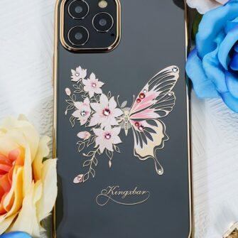 iPhone 12 iPhone 12 Pro umbris Kingxbar Butterfly elastsest plastikust Swarowski kristallikestega roosa 8