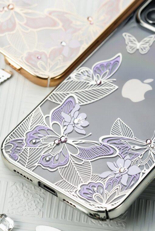 iPhone 12 iPhone 12 Pro umbris Kingxbar Butterfly elastsest plastikust Swarowski kristallikestega sinine 13