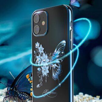 iPhone 12 iPhone 12 Pro umbris Kingxbar Butterfly elastsest plastikust Swarowski kristallikestega sinine 2