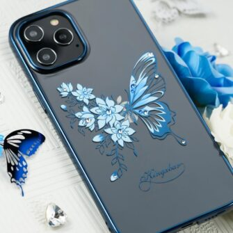 iPhone 12 iPhone 12 Pro umbris Kingxbar Butterfly elastsest plastikust Swarowski kristallikestega sinine 9