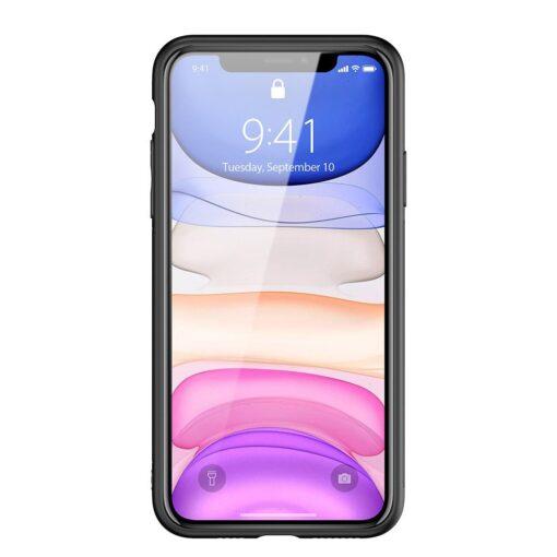 iPhone 12 mini ümbris YOLO kunstnahast ja silikoonist servadega must 13