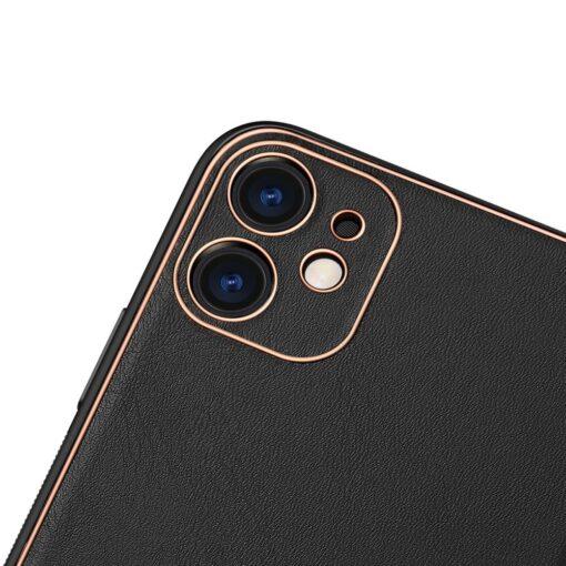 iPhone 12 mini ümbris YOLO kunstnahast ja silikoonist servadega must 2