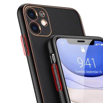 iPhone 12 mini ümbris YOLO kunstnahast ja silikoonist servadega must 3