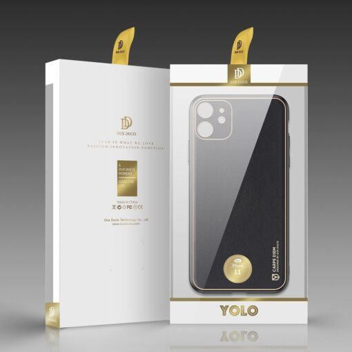 iPhone 12 mini ümbris YOLO kunstnahast ja silikoonist servadega must 4
