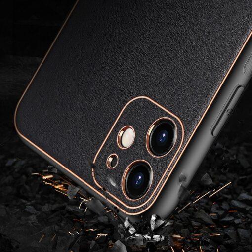 iPhone 12 mini ümbris YOLO kunstnahast ja silikoonist servadega must 8