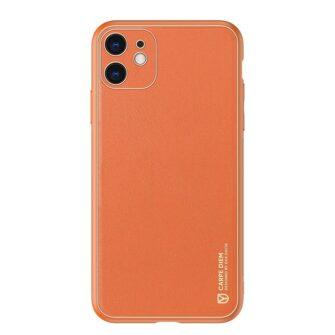iPhone 12 mini ümbris YOLO kunstnahast ja silikoonist servadega oranž 12