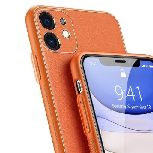 iPhone 12 mini ümbris YOLO kunstnahast ja silikoonist servadega oranž 3