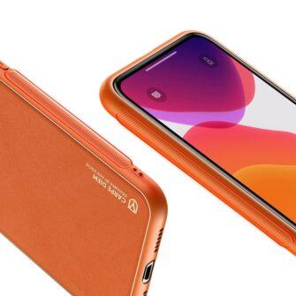 iPhone 12 mini ümbris YOLO kunstnahast ja silikoonist servadega oranž 5