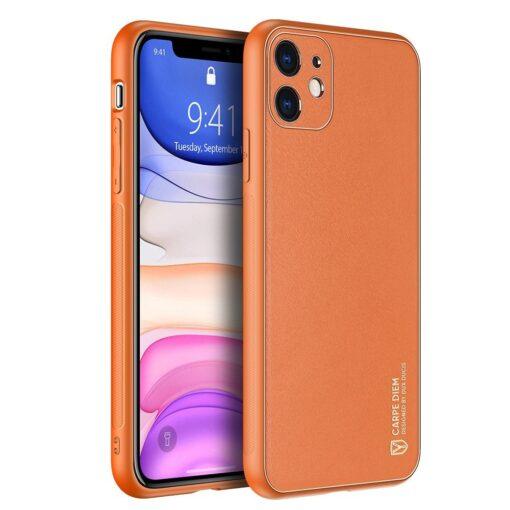 iPhone 12 mini ümbris YOLO kunstnahast ja silikoonist servadega oranž
