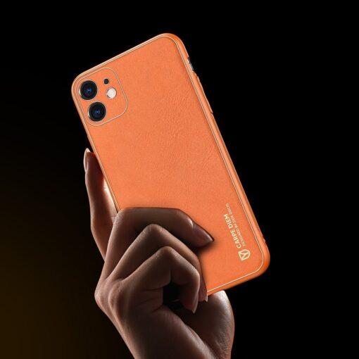 iPhone 12 mini ümbris YOLO kunstnahast ja silikoonist servadega oranž 6