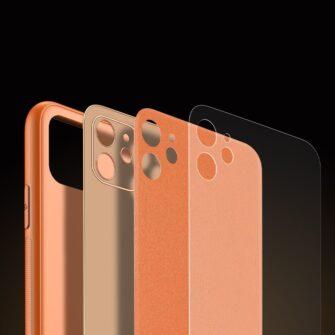 iPhone 12 mini ümbris YOLO kunstnahast ja silikoonist servadega oranž 7