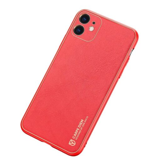 iPhone 12 mini ümbris YOLO kunstnahast ja silikoonist servadega punane 1