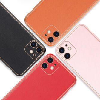 iPhone 12 mini ümbris YOLO kunstnahast ja silikoonist servadega punane 11