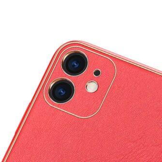 iPhone 12 mini ümbris YOLO kunstnahast ja silikoonist servadega punane 2