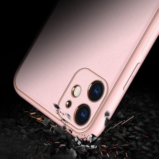 iPhone 12 mini ümbris YOLO kunstnahast ja silikoonist servadega roosa 13