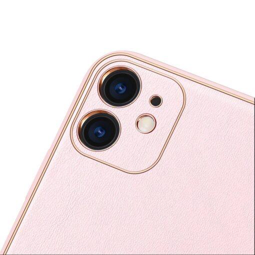 iPhone 12 mini ümbris YOLO kunstnahast ja silikoonist servadega roosa 2
