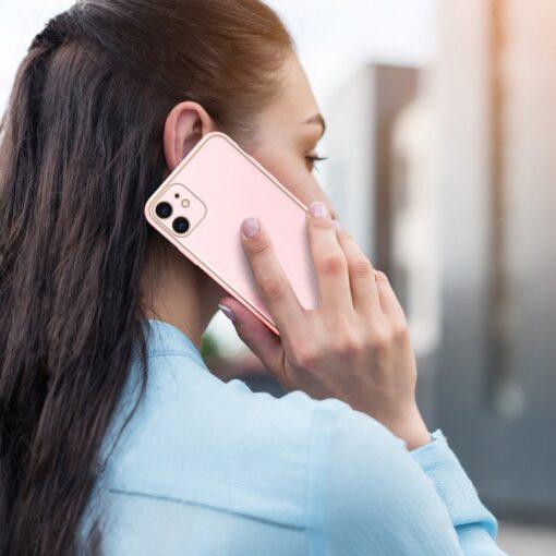 iPhone 12 mini ümbris YOLO kunstnahast ja silikoonist servadega roosa 9