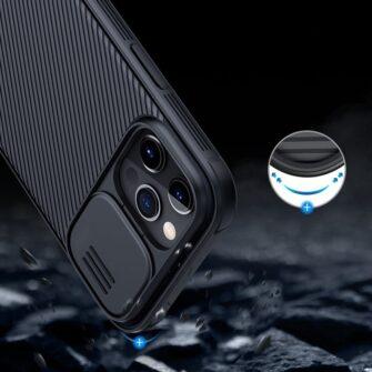 iPhone 12 mini Nillkin CamShield Pro ümbris kaamera kaitsega must 10