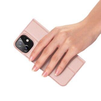 iPhone 12 mini kaaned Dux Ducis Skin Pro Bookcase roosa 6