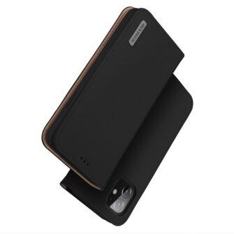 iPhone 12 mini kaaned päris nahast kaarditasku rahataskuga DUX DUCIS Wish must 1