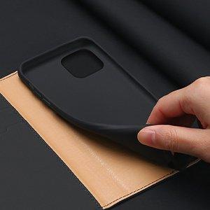 iPhone 12 mini kaaned päris nahast kaarditasku rahataskuga DUX DUCIS Wish must 11