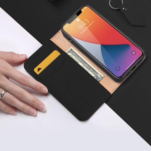 iPhone 12 mini kaaned päris nahast kaarditasku rahataskuga DUX DUCIS Wish must 2